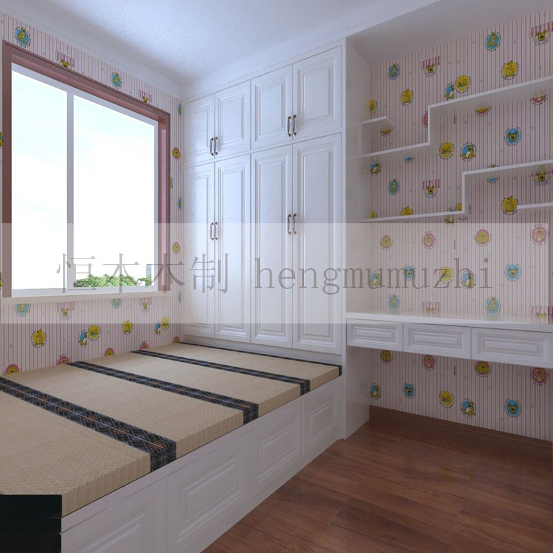 Beijing tatami custom solid wood bedroom children room furniture m bed whole wardrobe bookcase combination table