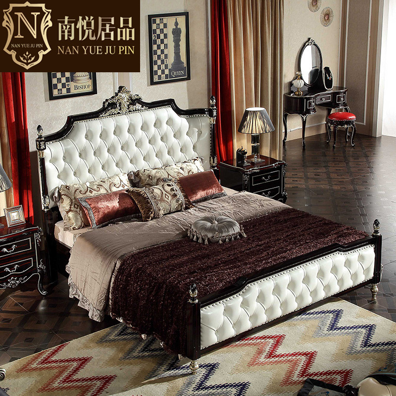 European bed 1.8 meters high French double wood box idyll Princess Wedding bed simple European Master Bedroom Furniture Set