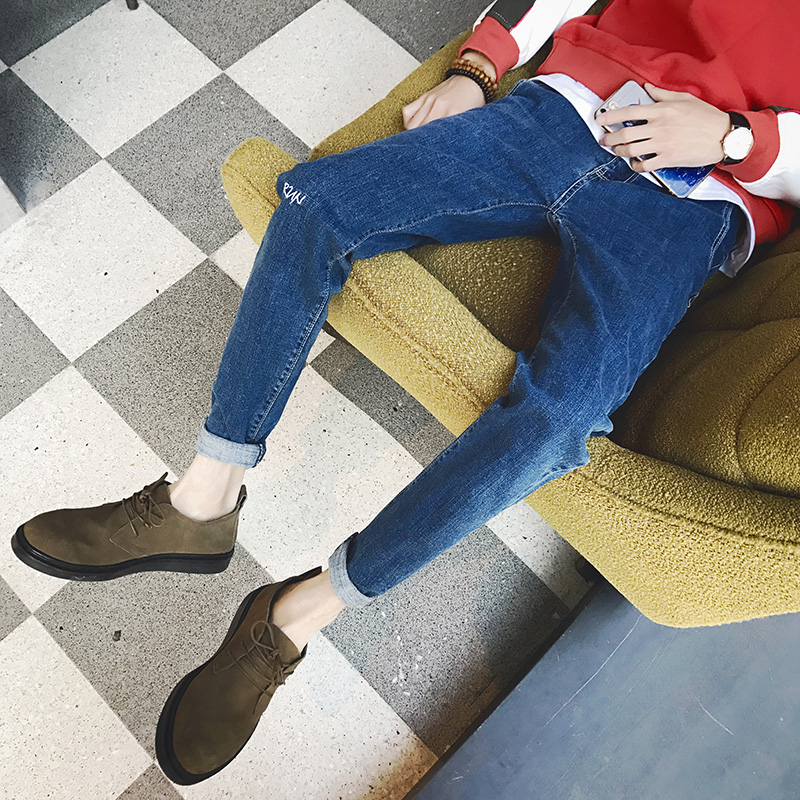 男士牛仔裤哈伦裤韩版英伦学生小脚裤日系潮流男青少年裤子#802