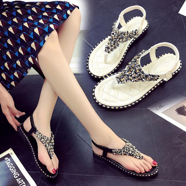 17新品波西米亚平底防滑沙滩女凉鞋学生鞋夹脚罗马鞋串珠手工女鞋