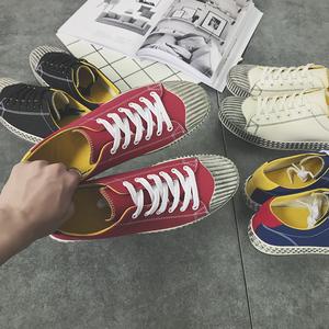 2017新款 男士贝壳头帆布鞋平跟系带学生休闲百搭做旧鞋子895