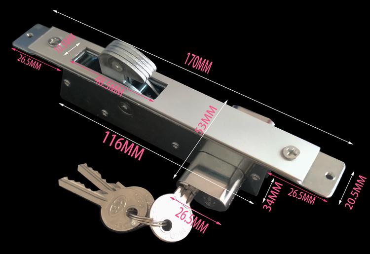 ガラスのロック单门ツードアがボックスのアルミニウム合金の鍵としてステンレス門門フックトングガラスドアロック
