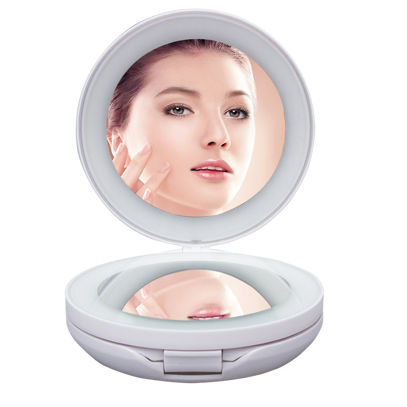 Portable folding table type makeup mirror with double LED light emitting 10X magnifying round mirror outlet mirror