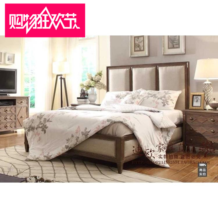 American Rural foreign trade fabric, soft wood solid double bed, French Oak Hotel Villa, high box storage big bed