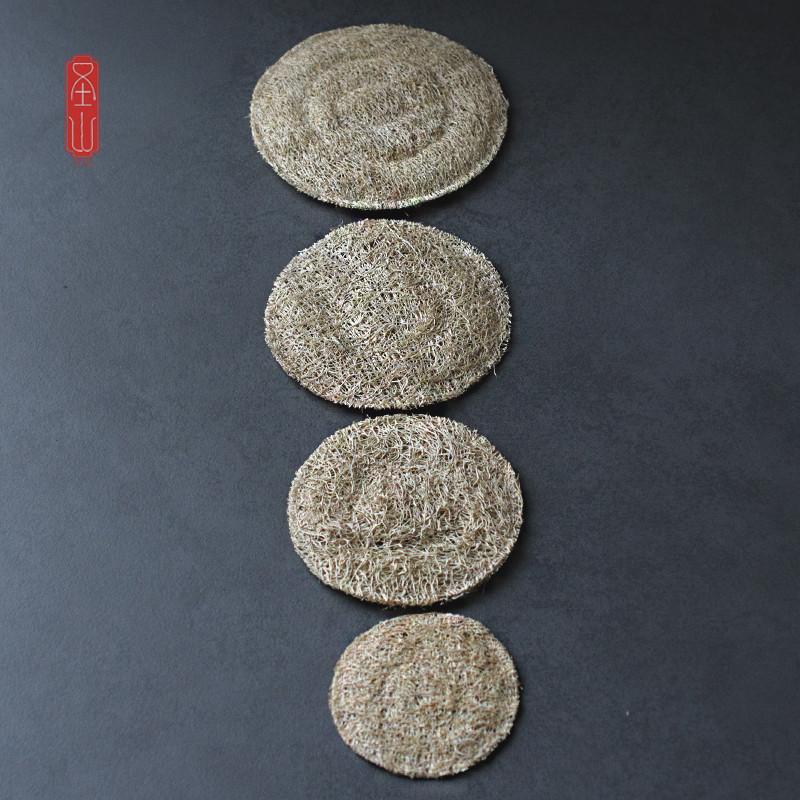 直徑7厘米圣山 天然絲瓜墊絲瓜絡日式杯墊 養壺墊 茶壺墊 茶具零配防磨防磕
