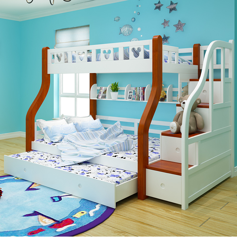 Double bed, full solid wood bed, upper and lower high and low bed, multifunctional adult double bed, environmental protection paint