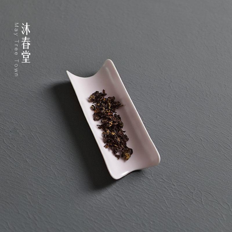 淺櫻初綻景德鎮陶瓷茶則功夫茶道零配件賞茶荷簡約大茶勺瓷茶具取茶器