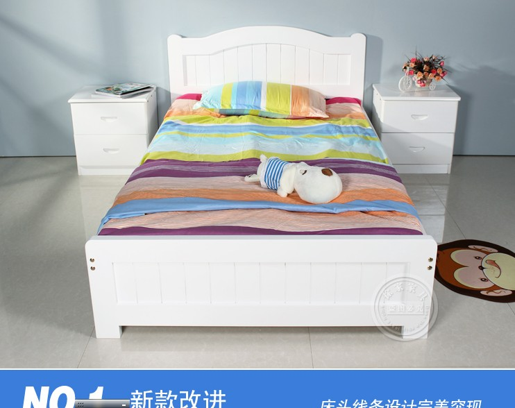 Special princess bed, solid wood bed, white single bed double bed, solid wood pine furniture, children bed 2 meters, 1.5 bags