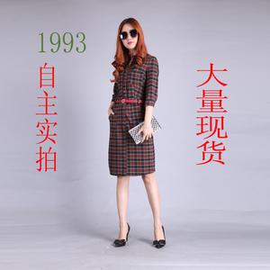 2016秋季新款女装韩版七分袖复古格子长裙气质修身显瘦连衣裙特