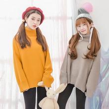 Áo dệt kim/Áo len nữ cao cổ phù hợp cho mùa đông phong cách ngọt ngào một màu mẫu mới nhất