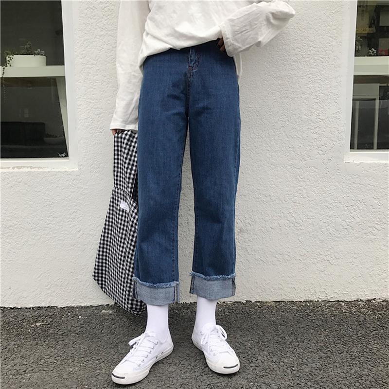 秋裝女裝韓版寬松顯瘦高腰卷邊闊腿褲流蘇毛邊牛仔褲九分褲學生潮