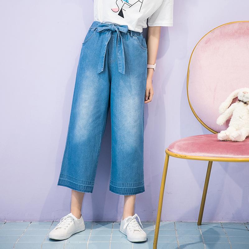 Quần harem/Quần ngố/Quần nữ họa tiết hình nơ tôn dáng thụng thời trang chất liệu bò phong cách Hàn Quốc phù hợp cho mùa hè phong cách học sinh mẫu mới nhất phù hợp cho mùa xuân