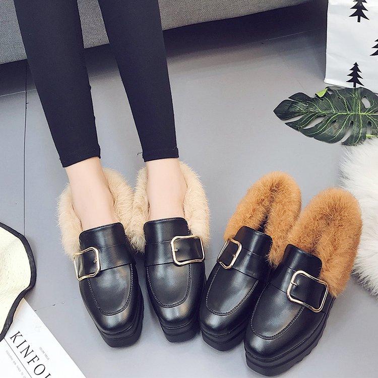2017秋鼕新款兔毛毛淺口加絨厚底松糕鞋女方頭坡跟單鞋英倫懶人鞋