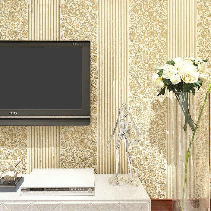 粉色現代簡約 條紋浮雕立體植絨3d無紡布墻紙 臥室客廳電視背景墻壁紙