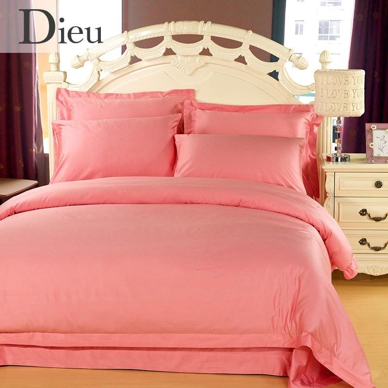 IL Colore scelto Le lenzuola di SETA Dieu diou Tessile europeo una serie di Quattro Pezzi dello stesso Colore tencel semplice letto più Unitario