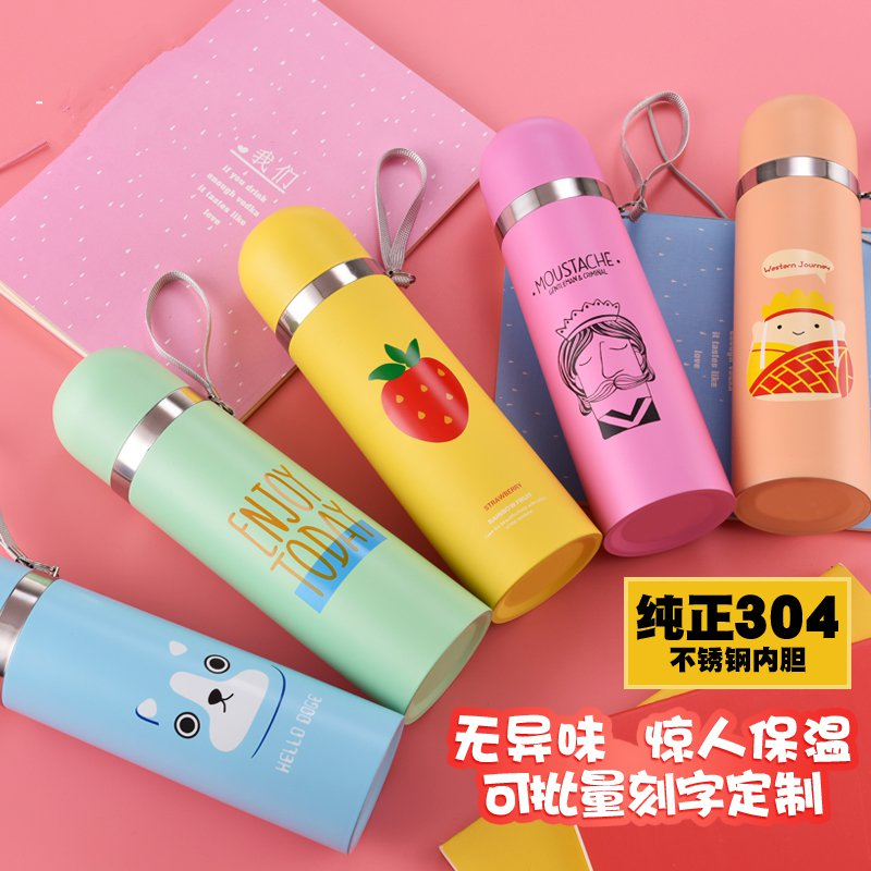Vacuum thermos cup 304 stainless steel male and female student cup creative portable child head can be carved