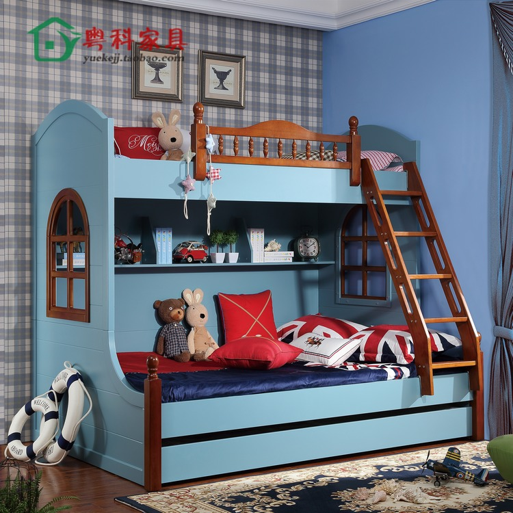 The children's furniture solid wood bunk bed multifunctional bunk bed bed bed combination level of female children