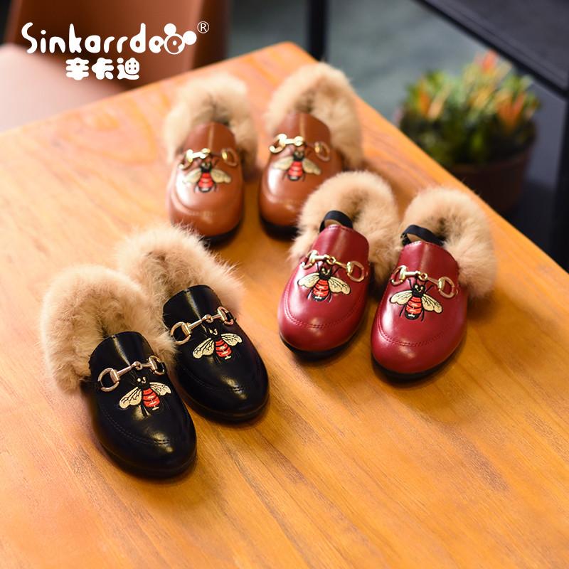 天天特价新款儿童皮鞋韩版 女童兔毛毛鞋 小女孩宝宝公主鞋童鞋潮