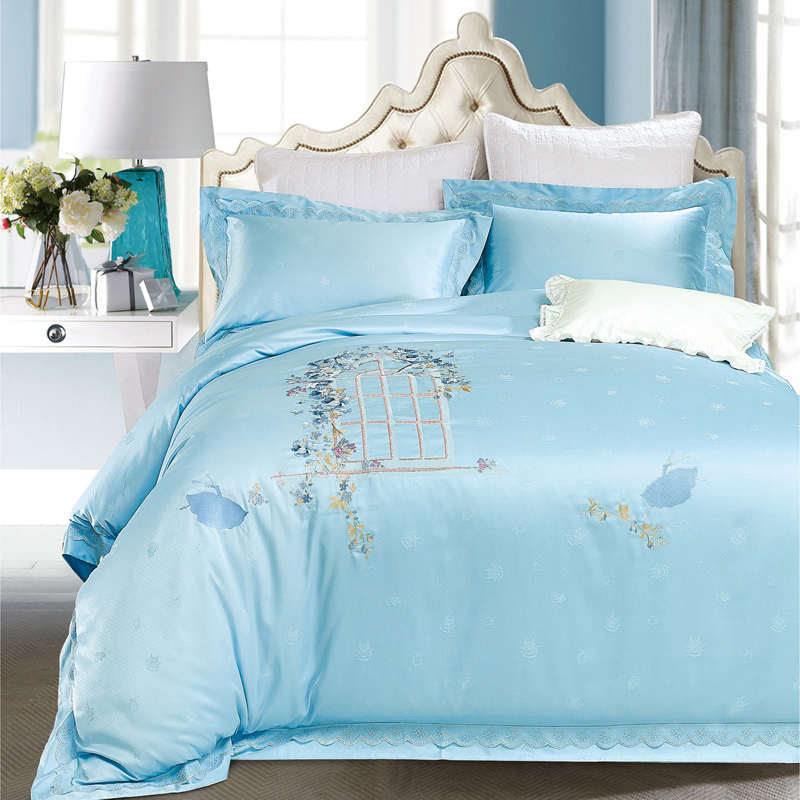 European noble Satin Jacquard AB face four piece blue wood Tencel embroidered quilt quilt bed