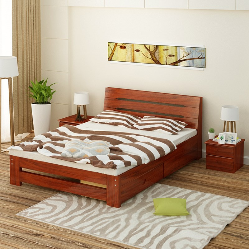 Modern minimalist wooden bed bed double bed 1.2 meters 1.51.8 meters of pine simple adult children bed single bed