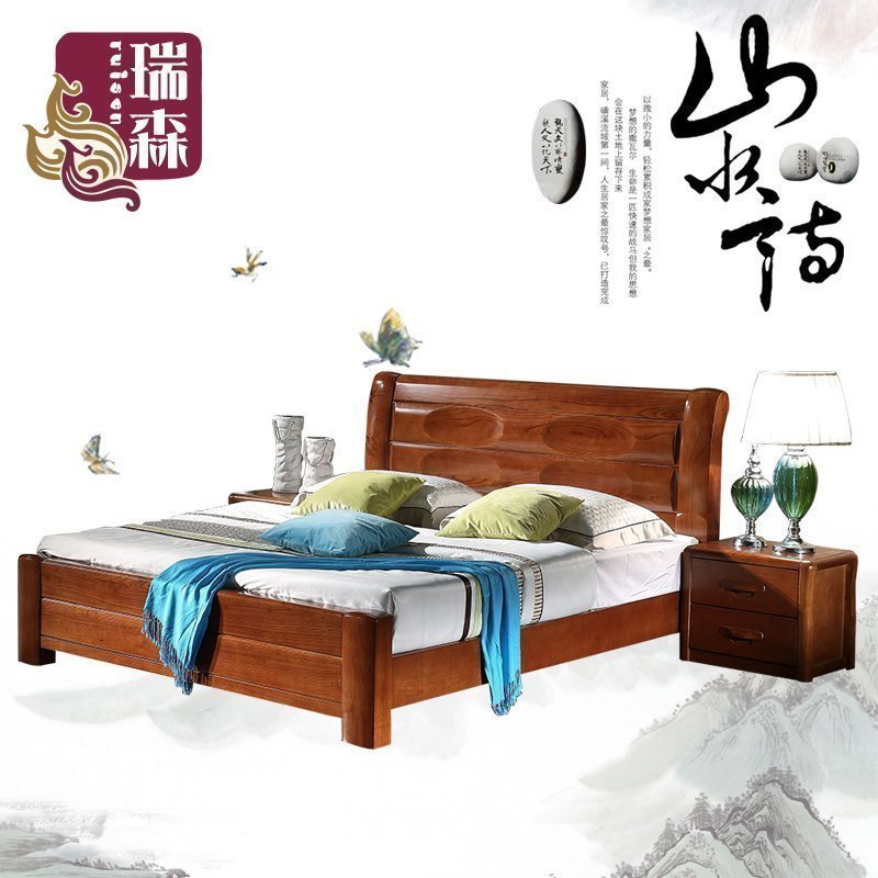 All solid wood ash ash bed, modern Chinese double marriage bed, 1.51.8 meter lifting box, children's bed