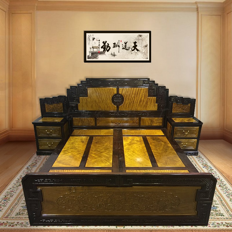 Mahogany furniture nanmu wood double bed storage level of Ming and Qing Dynasty Classical Chinese 1.8 bedroom bed bed