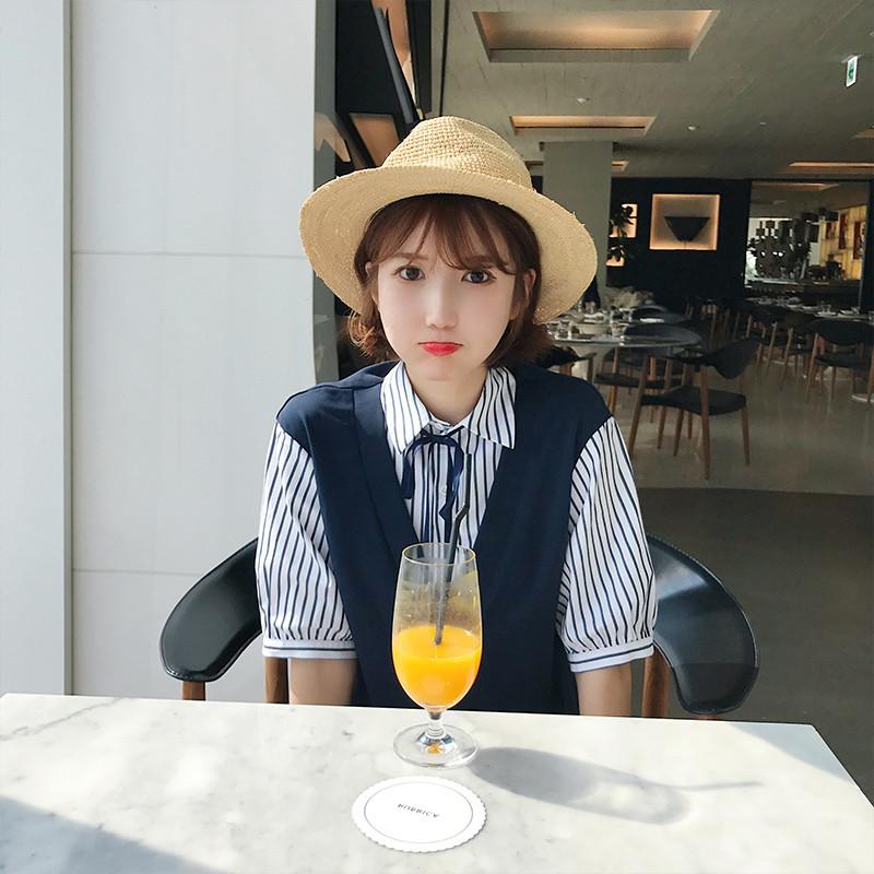 La casa de verano de 2017 BIGKING Daikin niña nueva pseudo - dos burbujas vestido de manga coreano, Instituto de la mujer