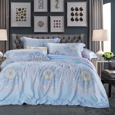 Deep sleep 60 bamboo with four sets of Tencel language version of blue white stripe sheets and gentle style