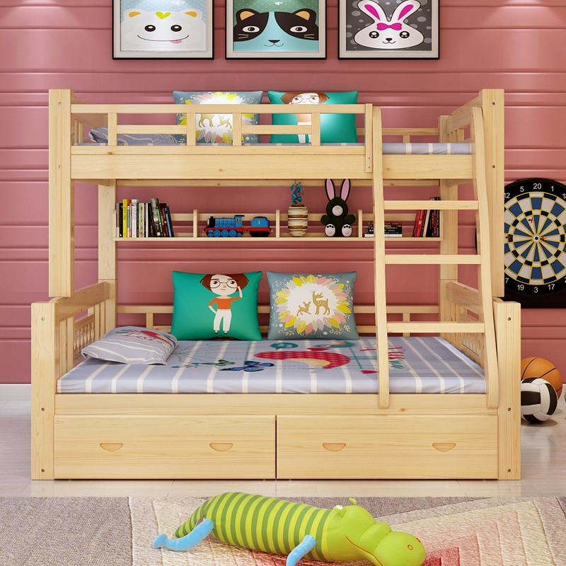 La cama de madera de los niños en la cama cucheta con barandilla y madre de la herramienta puede dividir la cama litera