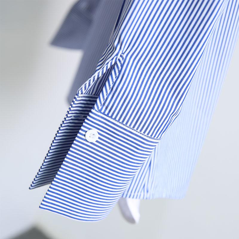 韩版新款蓝白色加绒条纹衬衫女长袖宽松秋冬纯棉保暖加厚衬衣外套
