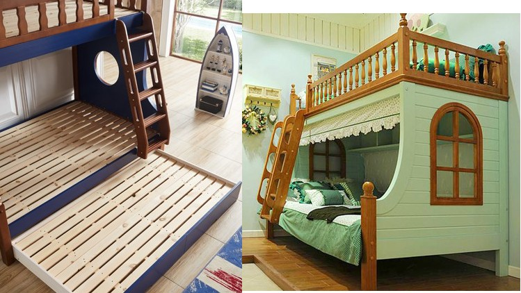 Mittelmeer - Bett aus dem Bett Holz, Holz - Bett der Mutter der Kinder unter doppel - Bett Bett