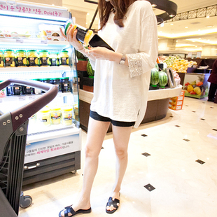 天天特价早秋女装新款白色纯棉t恤女七分袖亮片中长宽松大码打底