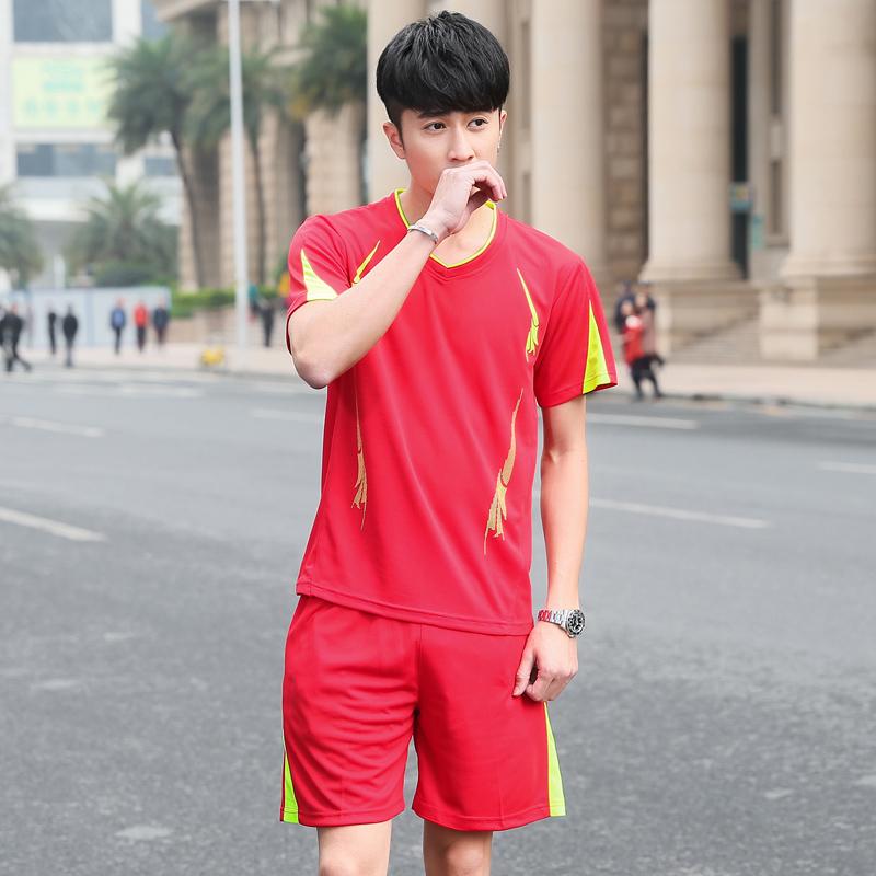 303红色短袖套装