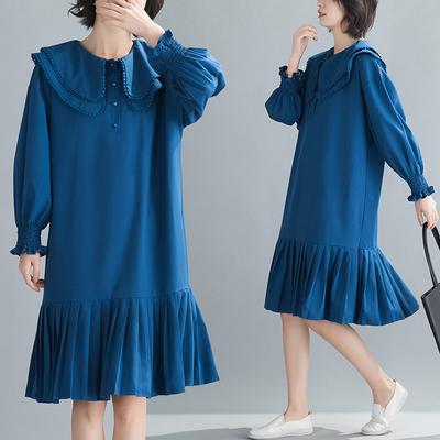 2020年 现货 春夏新款显瘦中长款复古百褶连衣裙