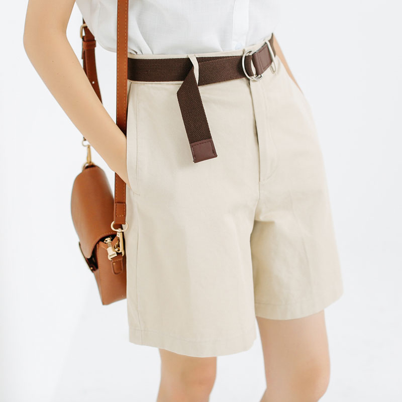 三木社/咖啡屋/日系简约高腰五分短裤女百搭显瘦BF休闲裤送腰带