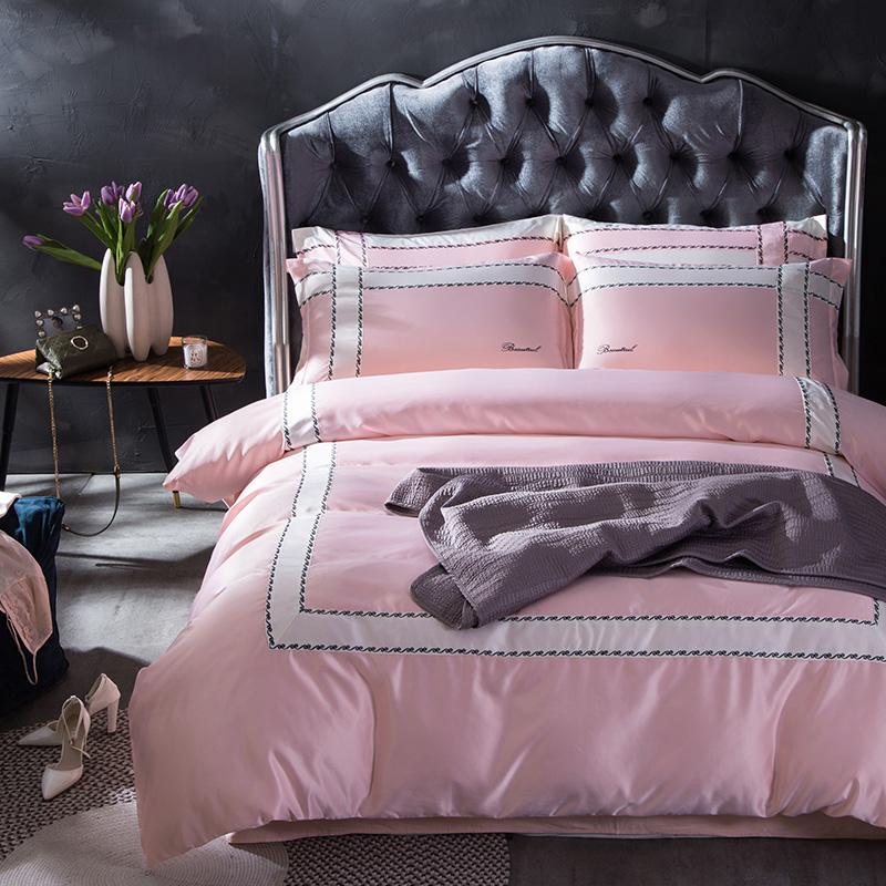 La Casa di ghiaccio (in coreano semplice lavaggio di SETA ricamata in Estate una serie di Quattro Pezzi di SETA di Colore di un Colore trapunta a letto
