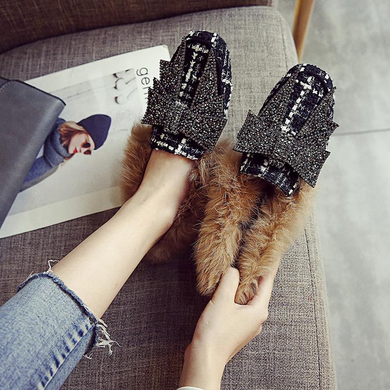 棉瓢鞋女冬季加绒毛毛单鞋大码女鞋41-43秋冬平底豆豆鞋2017新款
