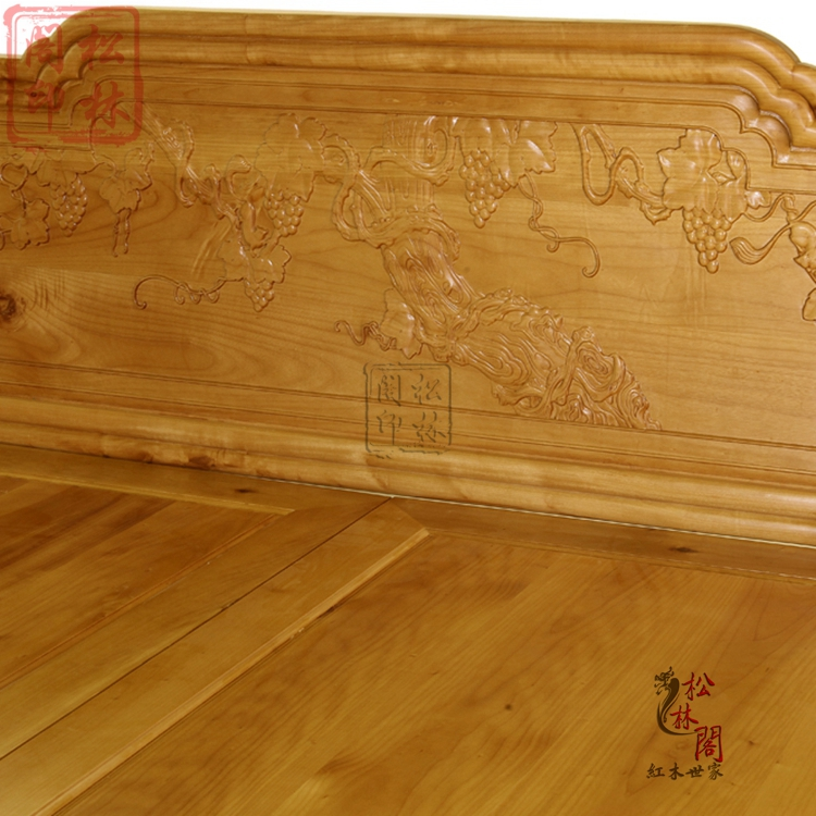 Genuine gold Phoebe double bedroom Chinese antique wood bed bed mahogany furniture