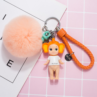韩国可爱创意卡通汽车毛绒钥匙扣圈女日本天使娃娃公仔包包挂件饰