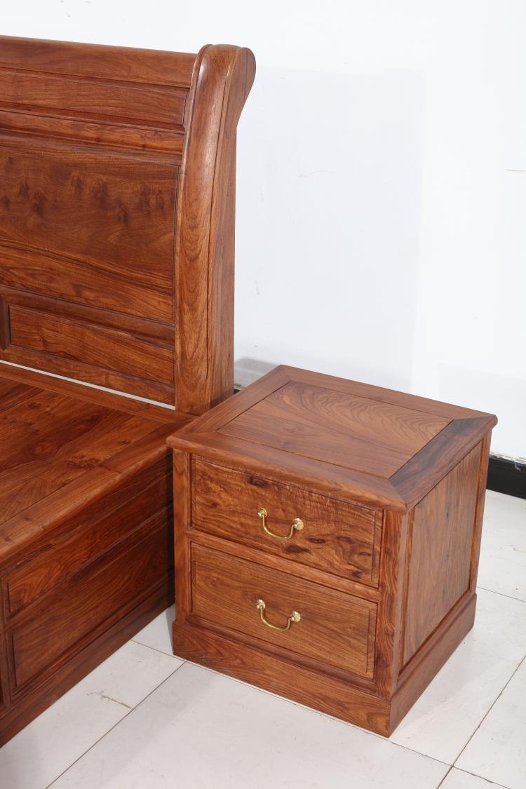 Rosewood rosewood bed Muming type pure wood double bedroom furniture 1.8 meters high storage box bed sandalwood Hedgehog