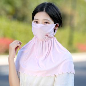 防晒口罩女夏季防紫外线护颈透气薄长款可清洗易呼吸骑车防尘面罩
