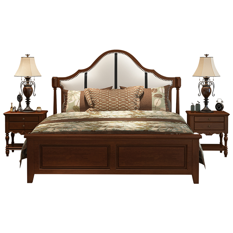 American country wood bed rubber wood high storage box bed 1.5m1.8 type double soft rice art depends on the economy