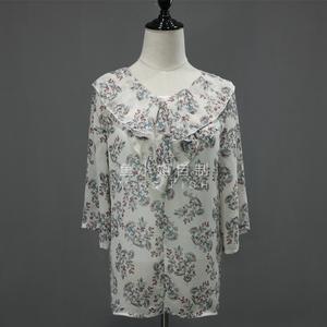 小鎮姍姍 臨摹的詩意 帶著幽幽雅韻荷葉邊五分袖清爽印花雪紡衫