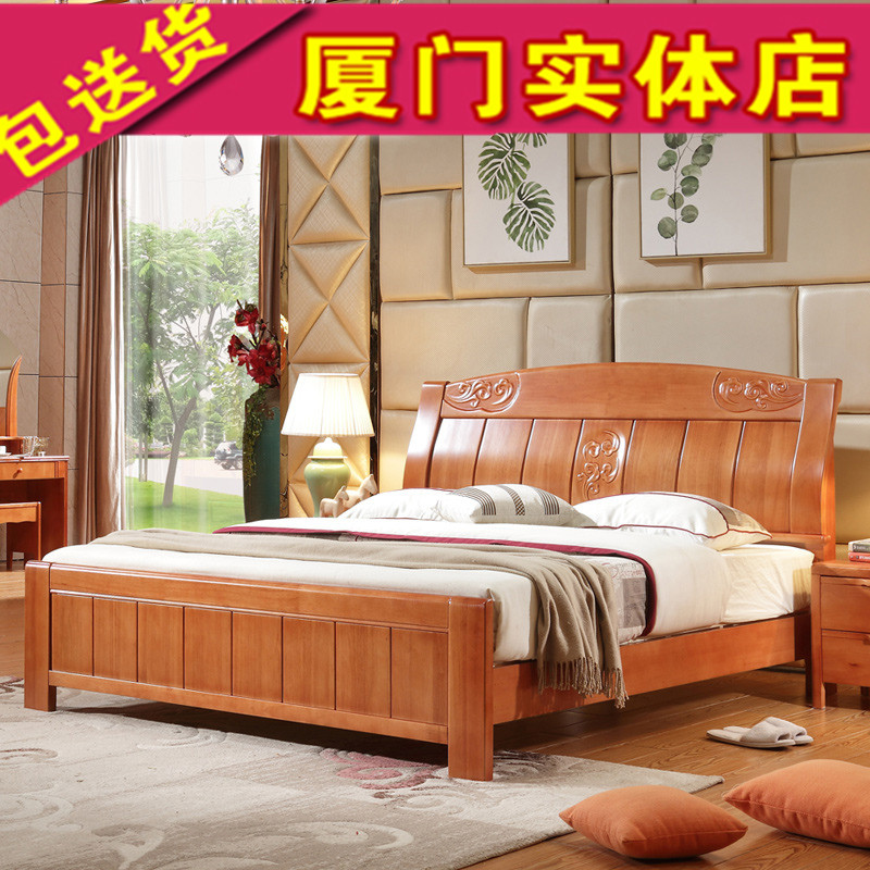 Solid wood beds, 1.8 meters double oak beds, wood beds, modern simple, high box storage beds, Double Drawer solid