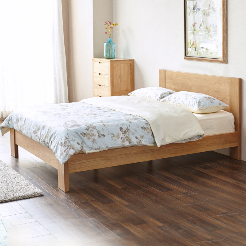 White oak bed 1.8 meters 1.5 meters modern minimalist master bedroom furniture Nordic pure all solid wood double bed