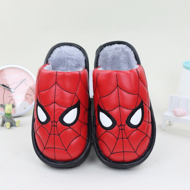 儿童棉拖鞋冬季男童女童室内防滑厚底防水PU皮卡通保暖中大童拖鞋