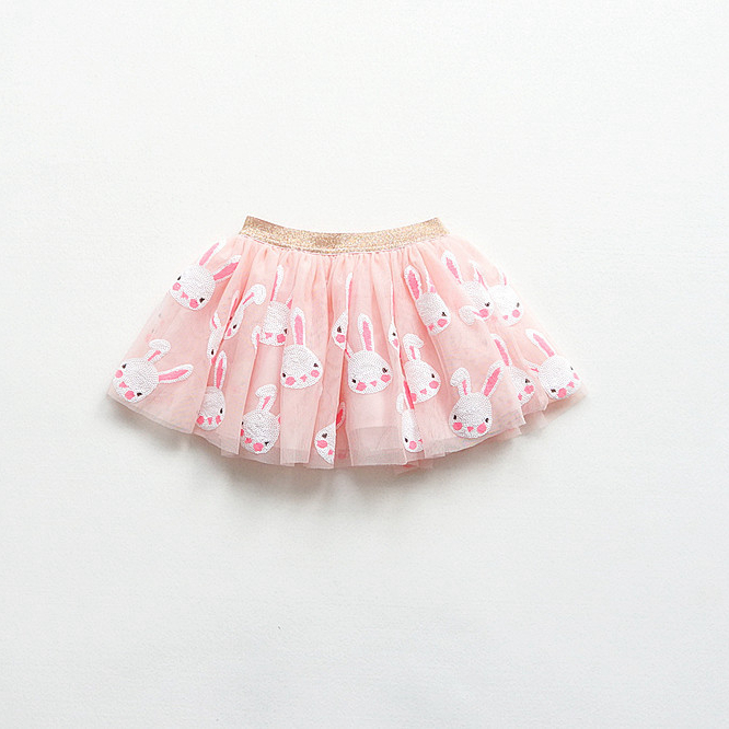原单儿童女童手工小兔亮片粉嫩网纱半身裙蓬蓬裙公主裙蛋糕裙
