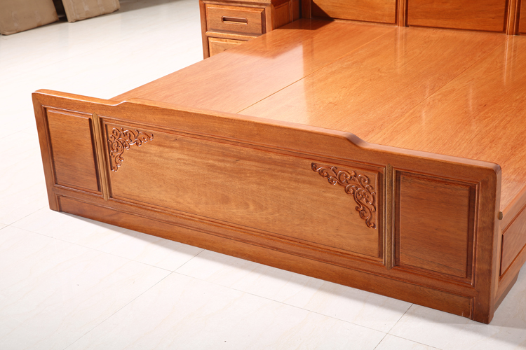 Solid wood furniture solid wood double bed bed bed Hongyun new Chinese modern Erythrophleum fordii