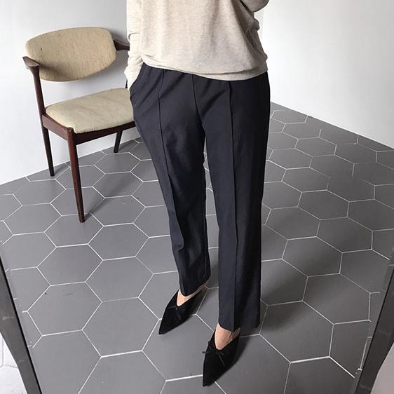 в Корее женская RIBBONTIE2017 осенью контракт параллельные линии талии пункта эластичные брюки