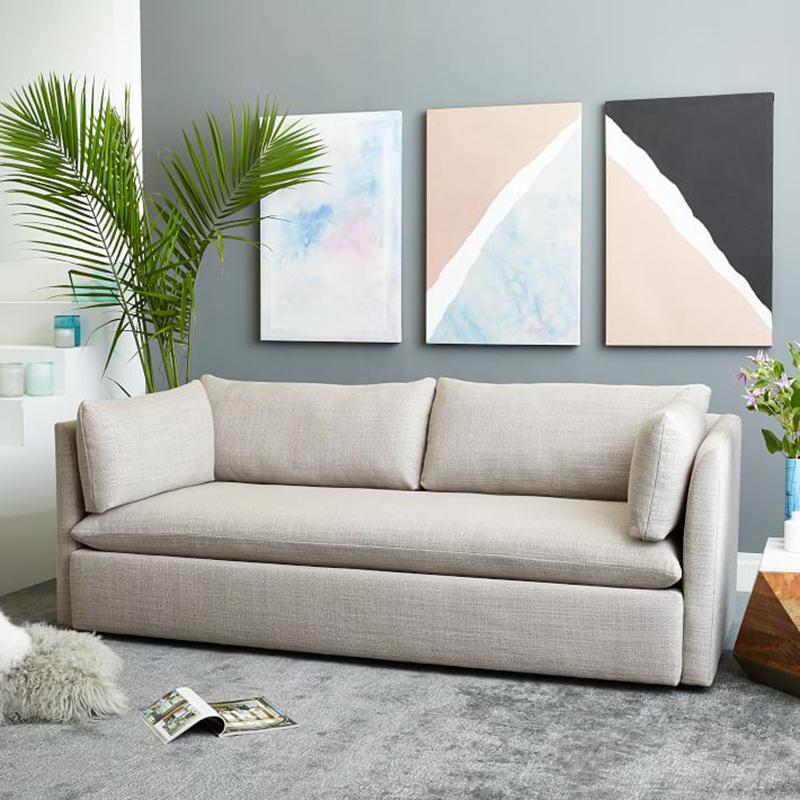 Οι σκανδιναβικές καναπέ - κρεβάτι πτυσσόμενου πίεσε και τράβα το διπλό τρία άτομα μικρού μεγέθους απλό ύφασμα καναπέ στο σαλόνι να μπορούν να πλένονται